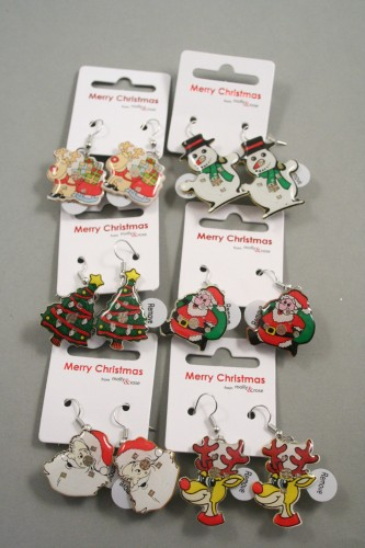 0c67ee557 Clip Strip of 12 Pairs of Flashing Christmas Earrings.