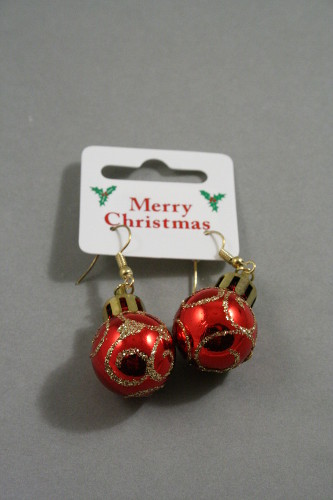 Pair Of Glitter Christmas Bauble Drop Earrings In 6 Colours Blue Gold Green Purple