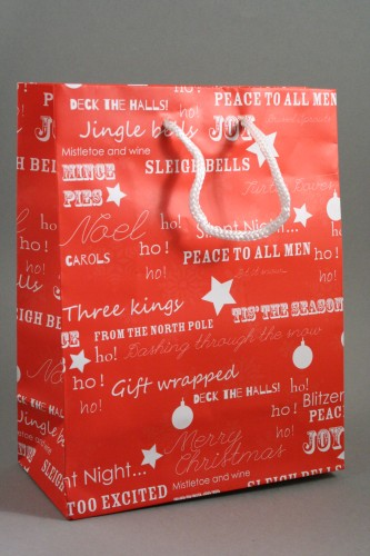 Red Christmas Gift Bag with White Festive Christmas Writing and White Cord Handles. . Size Approx 23cm x 18cm x 9cm.