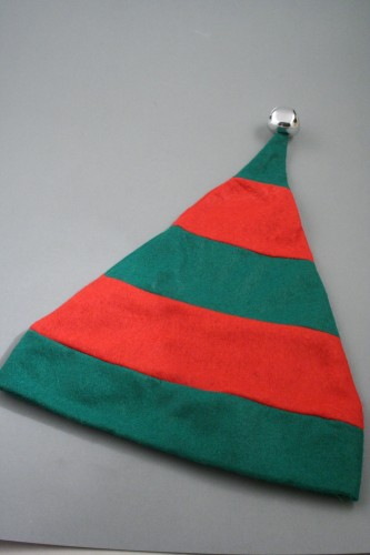 Christmas Striped Elf Hat in Green with Red Trim and Silver Bell. Approx Circumference 58cm - 60cm