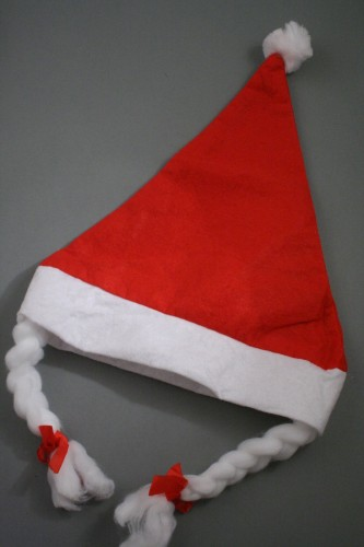 8a271b5703fec Christmas Santa Hat with Plaits. Approx circumferences vary between 58 -  60cm. Our Santa