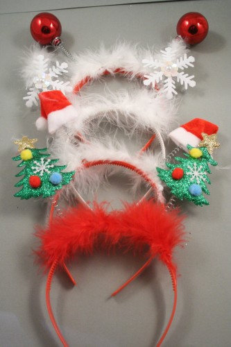 d2bd8e8b056d1 Christmas Deeley Boppers with White Red Fur Trim and Plastic Aliceband. In  Snowflake